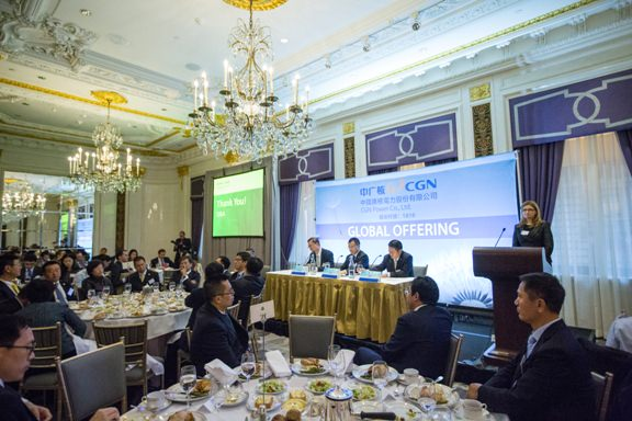 picture of global IPO roadshow with Chinese presenters
